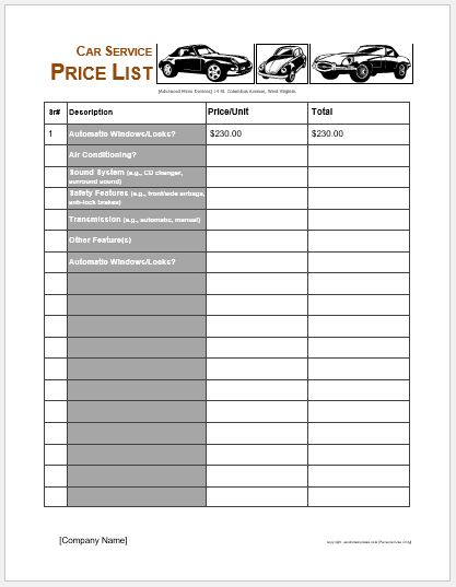 Car Services Price List