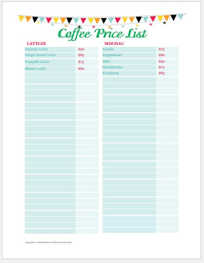 Coffee Price List