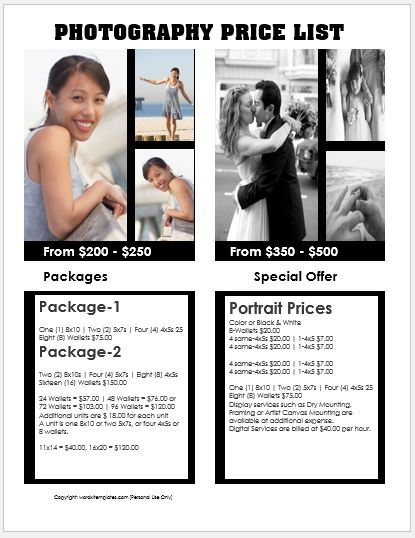 Photography price list