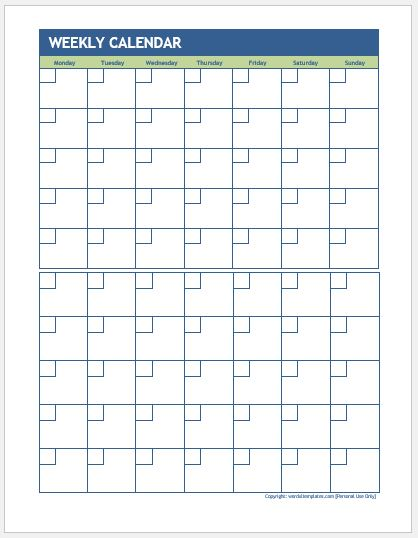 Weekly calendar for MS Word