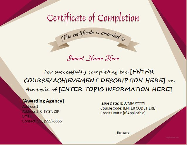 Certificate Of Completion Template For MS Word  Certificate Of Completion Template Word