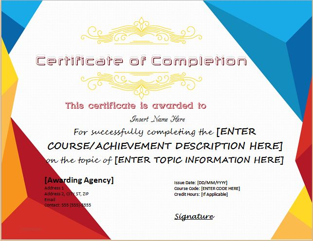 Certificates of Completion Templates for Microsoft Word | Microsoft ...