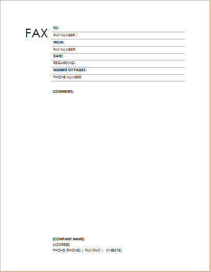 fax cover sheet templates for microsoft word