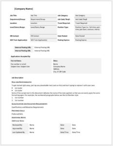 Job Description Template for MS Word