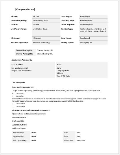 Job Description Templates for MS Word – Word Job Description Template
