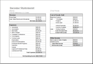 Income Statement Template for MS Excel