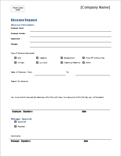 Absence request form template