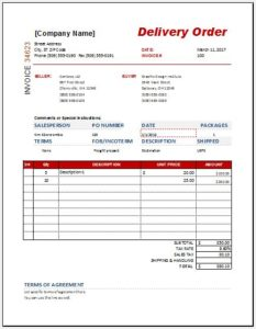 MS Word Delivery order form template