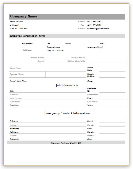 Employee Information Forms  Microsoft Word  Excel Templates