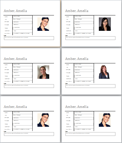 employee profile templates
