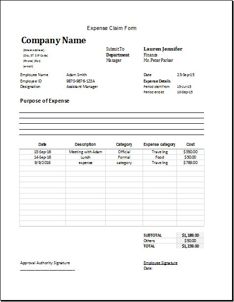 MS Excel Expense Claim Form Template
