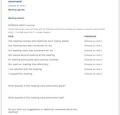 MS Word Meeting feedback form template