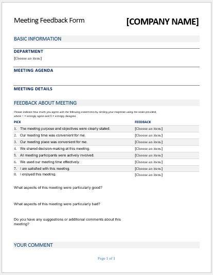 Ms Word Meeting Feedback Forms | Microsoft Word & Excel Templates
