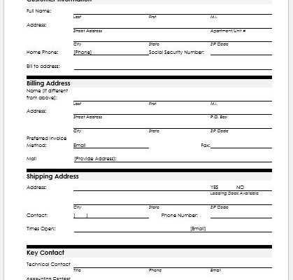 Customer Information Sheet  Customer Contact Information Form
