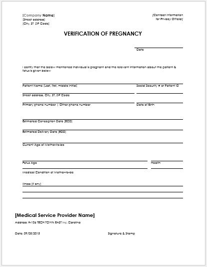 picture about Free Printable Fake Pregnancy Papers referred to as MS Phrase Being pregnant Verification Kinds Microsoft Term