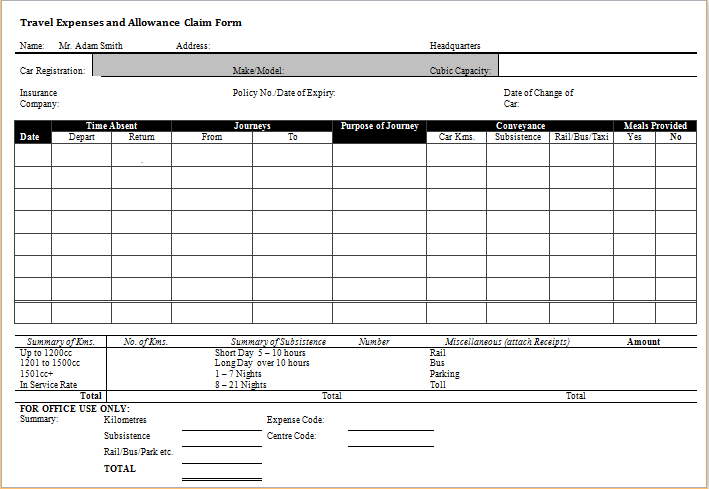 Superieur Travel Expense And Allowance Claim Form