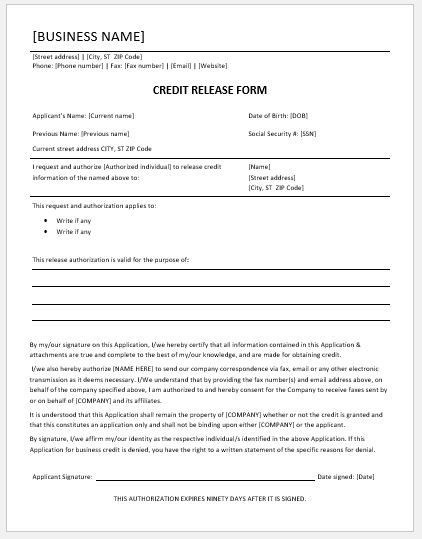 Credit release form template
