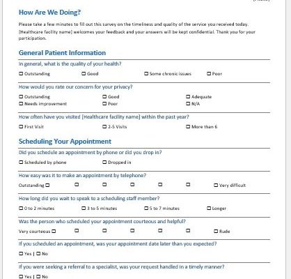 Medical practice survey form template