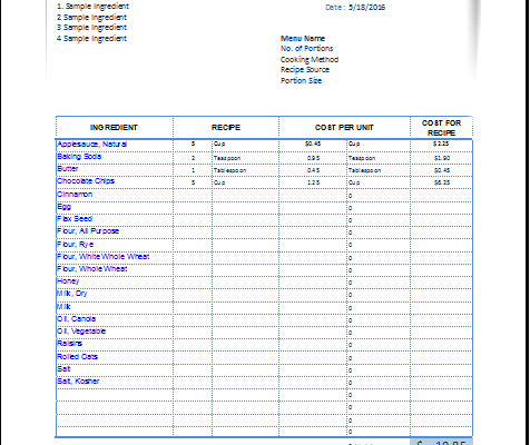 Recipe cost calculator template