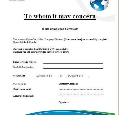 work certificate template word - construction work completion certificate microsoft word