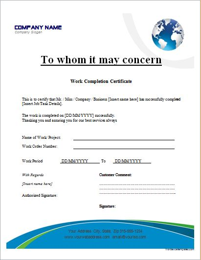 Wonderful Work Completion Certificate For Completion Certificate Format