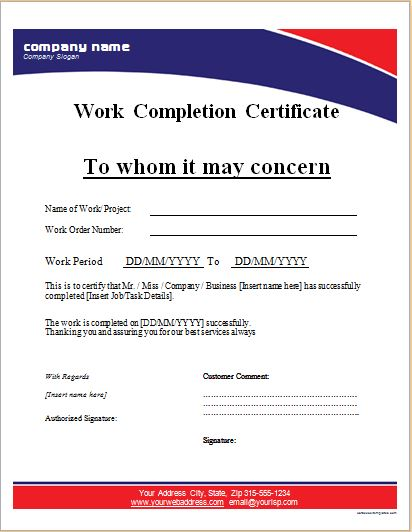 Awesome Work Completion Certificate Template MS Word Throughout Completion Certificate Format