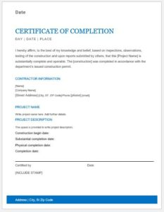 Work completion certificate template MS Word