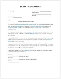 Bad check notice template