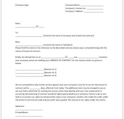 Breach of Contract Notice Template