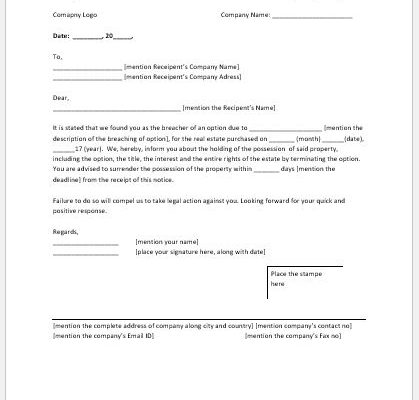 Breach of option notice to purchaser