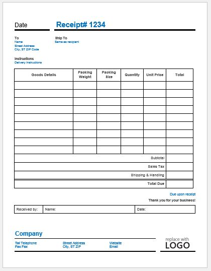 delivery invoice template ms word