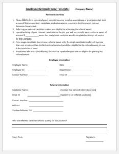 Employee Referral Form Template