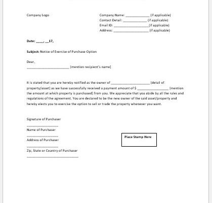 Exercise of option notice template