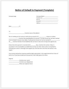 Notice for Payment Default Template