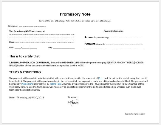 promissory note templates for ms word