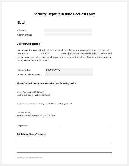 Security deposit refund request form