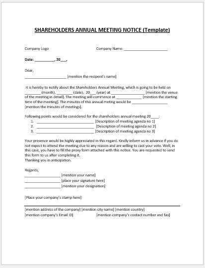 Shareholder Annual Meeting Notice Template