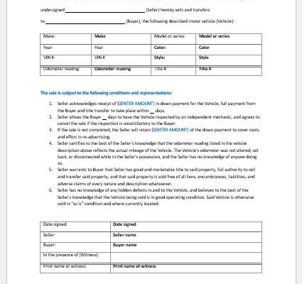 Every Type of Vehicle Bill of Sale Template