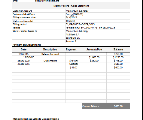 Excel monthly billing invoice statement template