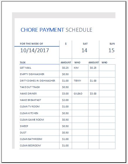 Payment Schedule Template Bill Pay Template Payment Schedule