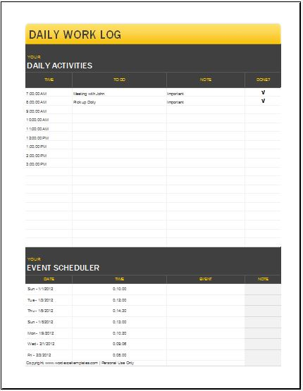 3 best daily activity log templates