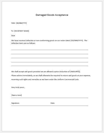 damaged goods acceptance notice template