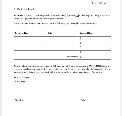 Demand to Pay Promissory Note Template