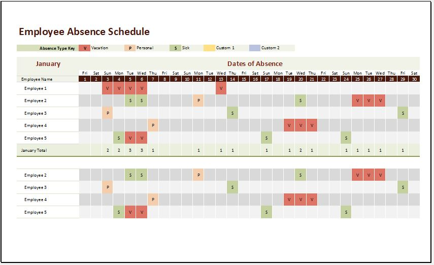 Employee Absence Schedule Templates 2018 19 Microsoft