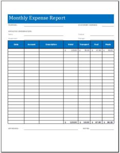 Monthly expense report worksheet template