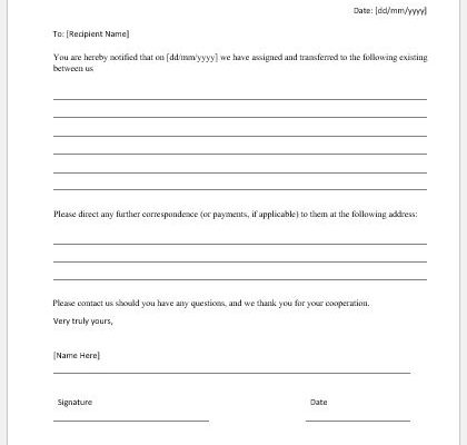 Notice of Assignment Template