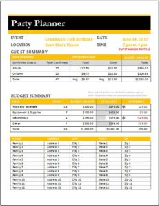 Party Planner Worksheet Template