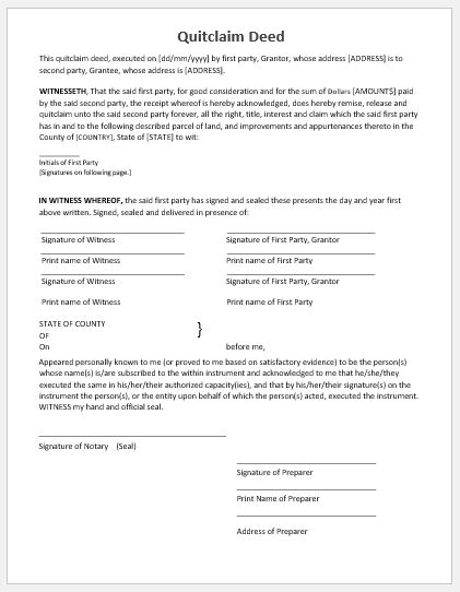 quitclaim deed template ms word