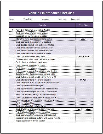 Vehicle Maintenance Checklist Template Microsoft Word
