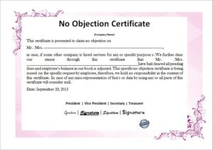 No objection certificate template